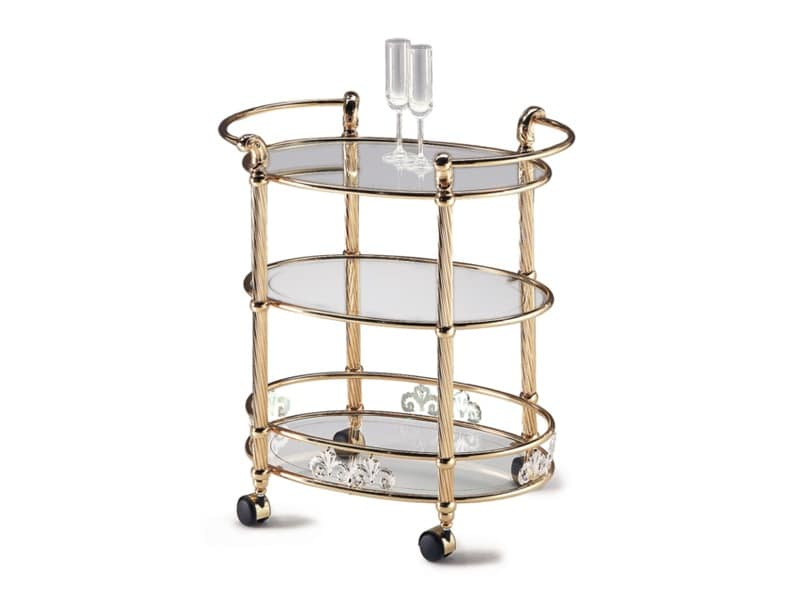 VIVALDI 1079-3, Brass trolley, furniture for hotels and living room