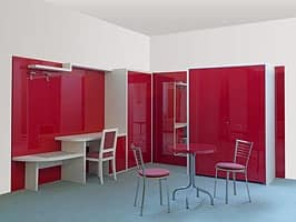Cherry collection, two-roomed flat furniture, hideable built-in kitchen unit, furnishing for residential hotel Hotels