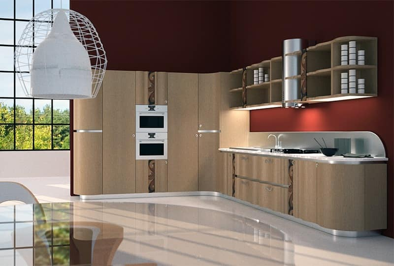 CUC01 Mistral kitchen, Kitchen functional and elegant, with inlaid wood and metal