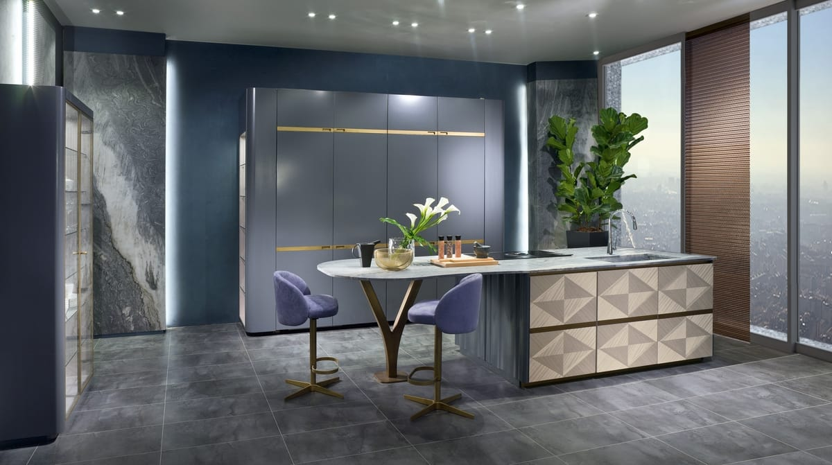 CUC03 Optical Skin kitchen, Linear kitchen with marble top