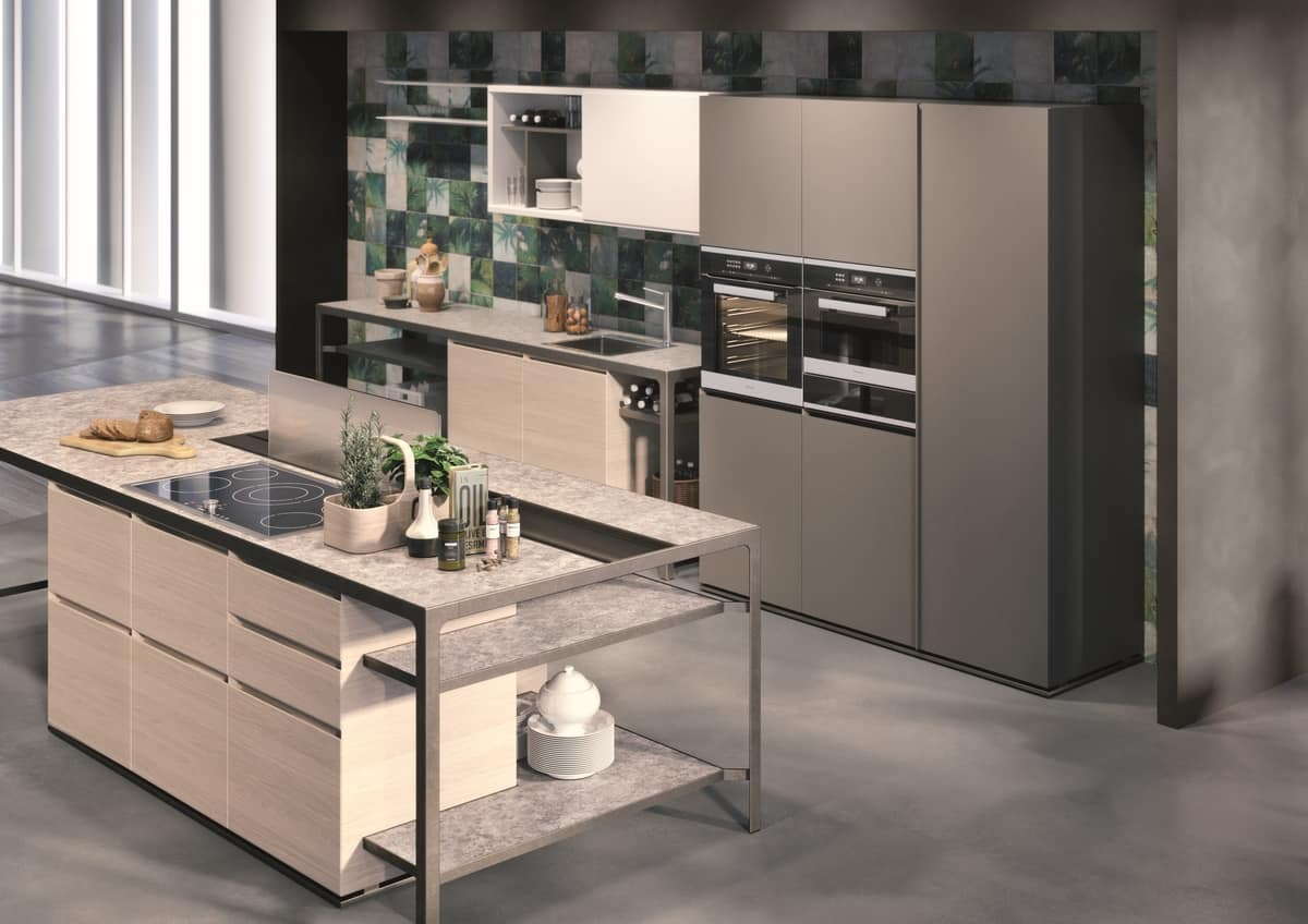Island Kitchen With Table And Multifunction Furniture Idfdesign