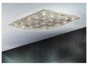 Alaska ceiling lamp, Rhomboid ceiling lighting in metal and glass, various finishes
