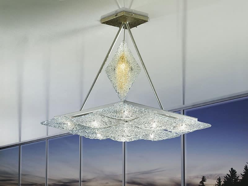Alaska ceiling lamp, Chandelier with rhomboid elements, imaginative style