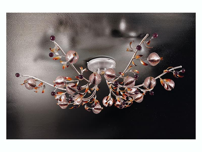 Ametista ceiling lamp, Contemporary ceiling lamp in forged iron in naturalistic style