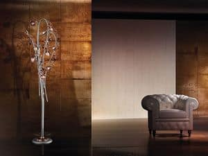 Ametista floor lamp, Modern floor lamp with blown glass crackle diffusers