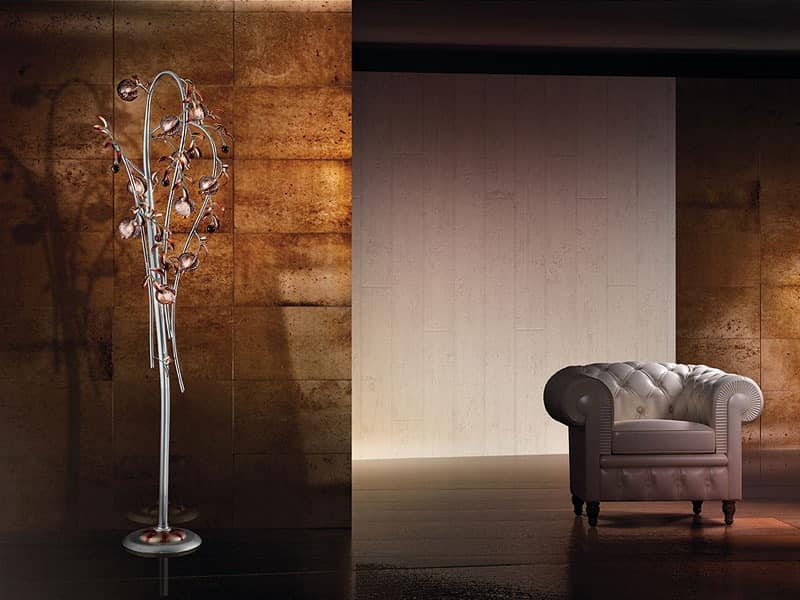 Modern floor lamp with blown glass crackle diffusers idfdesign ametista floor lamp modern floor lamp with blown glass crackle diffusers aloadofball Images