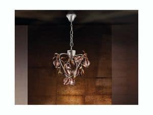 Ametista hanging lamp, Chandelier platinum colored finish, blown crackle glass