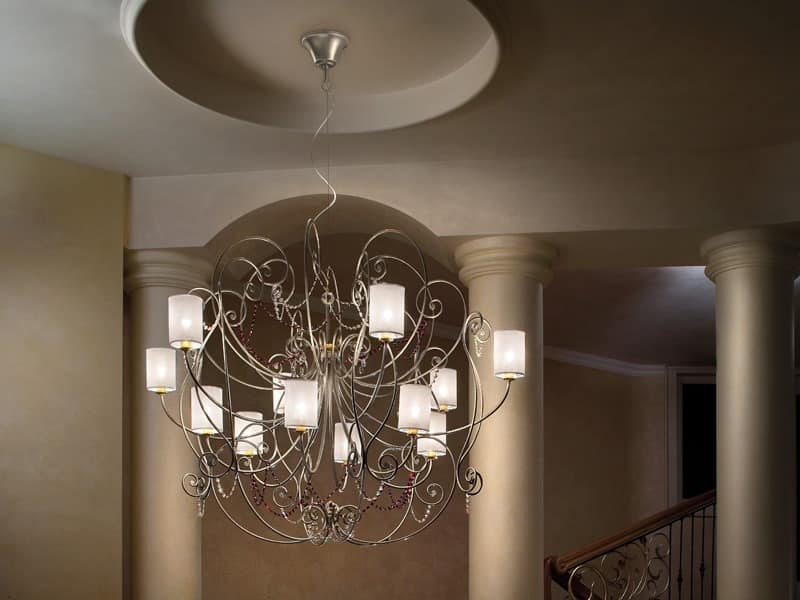 Anima chandelier, Chandelier with refined metal frame and sw pendants