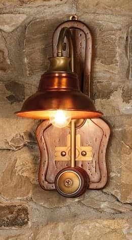 Art. SL 137, Wall lamp made of wood and copper, country style