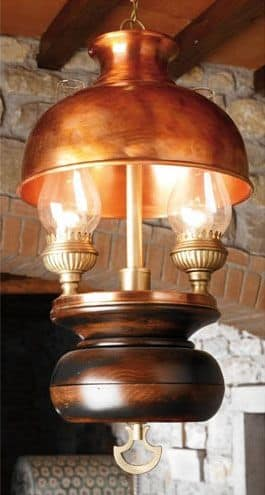 Art. L 70, Chandelier made of wood and copper, country style