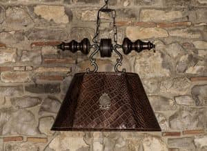 Art. L 79/M, Chandelier with lampshade in crocodile printed leather