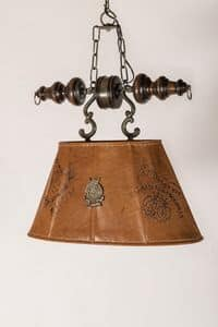 Art. L 80, Chandelier with lampshade covered in aged leather