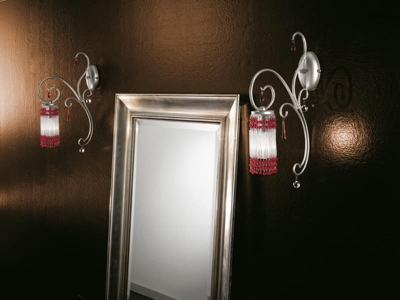 Casanova applique, Applique with Murano pendants, accessories in various colors