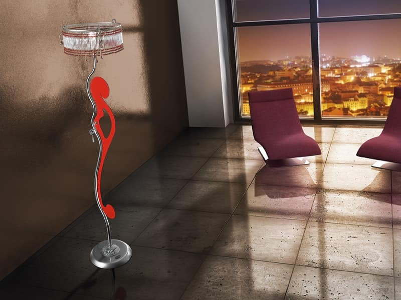Casanova floor lamp, Floor lamp with sinuous lines, various finishes