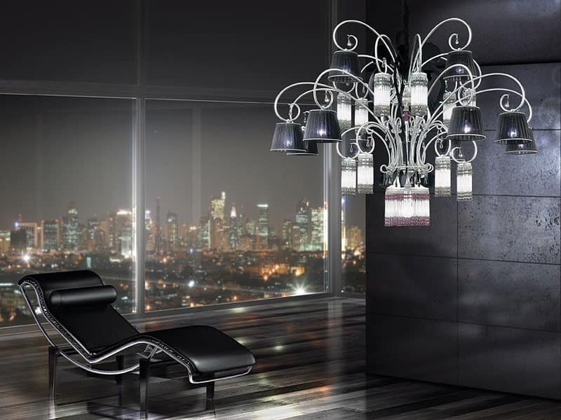 Casinò chandelier, Modern chandelier with 25 lights, diffusers in organza