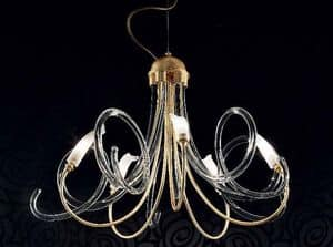 Chic chandelier, Chandelier in metal frame, spirals in Murano glass