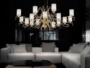 Delhia chandelier, Chandelier with sophisticated lines with dramatic effect