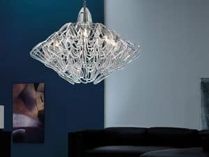 Diamante chandelier, Suspension lamp in height adjustable, in Murano glass