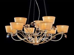Dolce Vita chandelier, Classic chandelier in painted metal and leaf finish