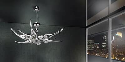 Ego chandelier, Brass chandelier with blown glass diffusers