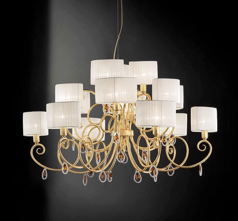 Elena ceiling lamp, Ceiling lamp with crystal pendants
