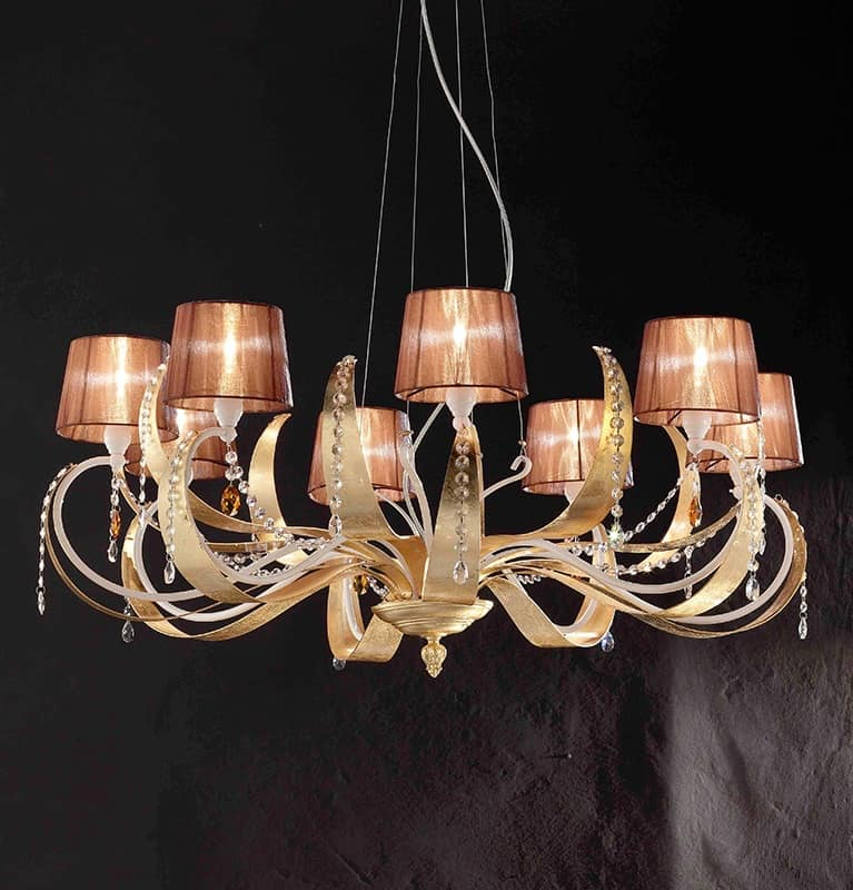 Erica ceiling lamp, Hanging lamp in iron with 8 light, modern style