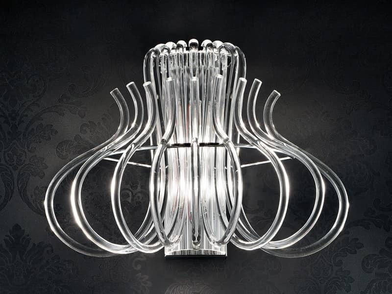 Essenzia applique, Modern applique in chrome metal and Murano glass