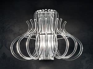 Essenzia applique, Modern applique in chrome metal and Murano glass