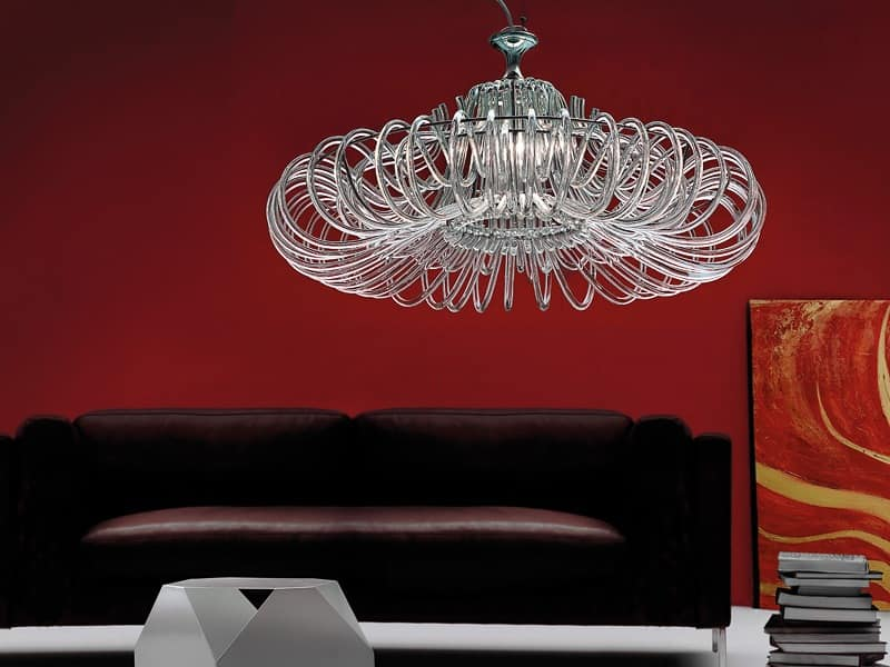 Essenzia chandelier, Chandelier with crystal diffusers, for classics living rooms