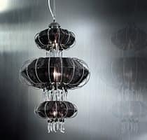 Full Moon chandelier, Chandelier with Swarovski pendants and crystal pearls