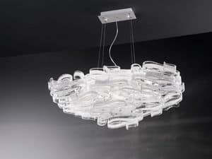 Gloria 1360/S7L, Chandelier in glass and lacquered metal, for modern villas