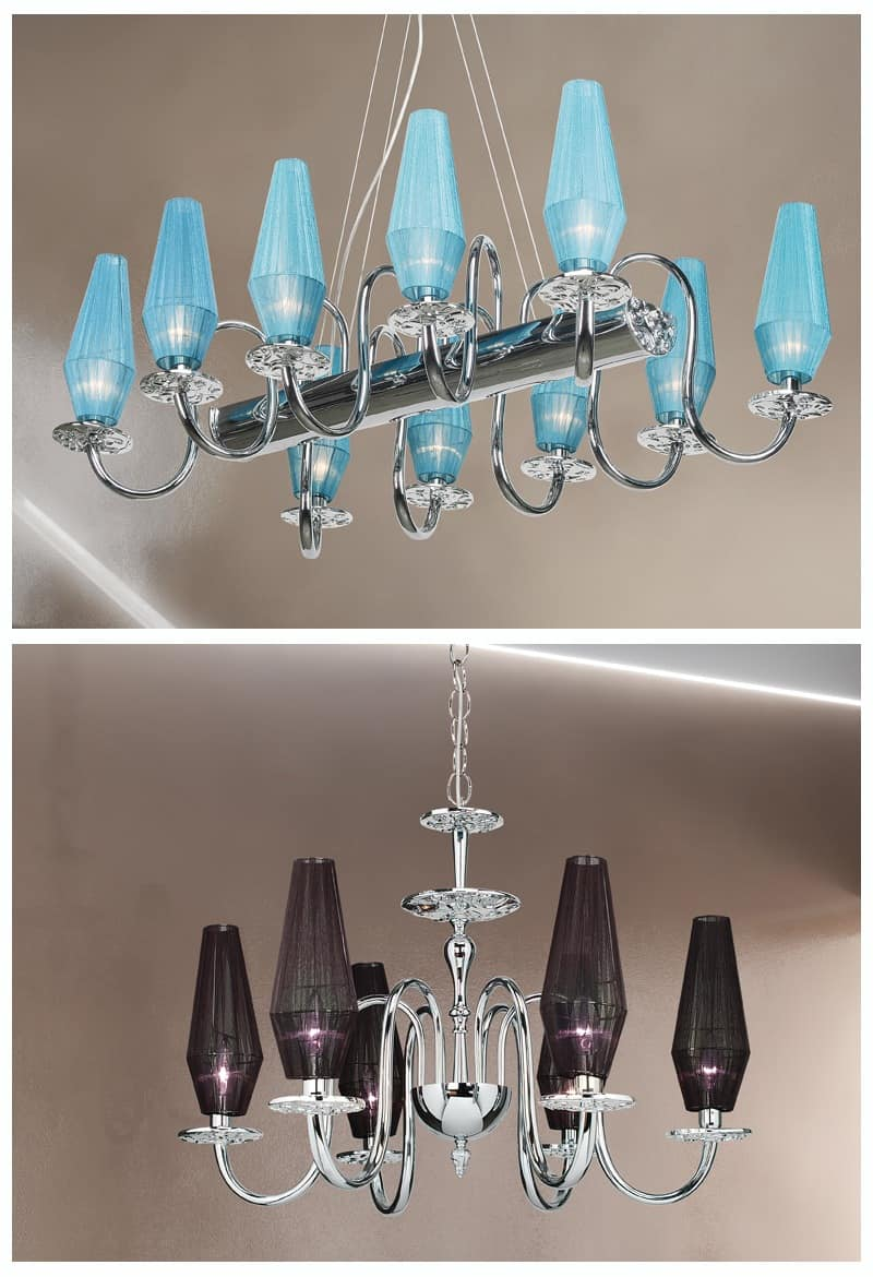 Karma chandelier, Chandelier with chromed metal and brass frame