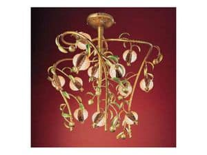 Melograno chandelier, Classic chandelier in golden metal and crackle glass