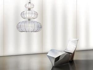 Moon chandelier, Modern chandelier with lights on 3 levels, simple shapes