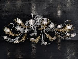 Musa ceiling lamp, Wall lamp in iron painted gold and chromium