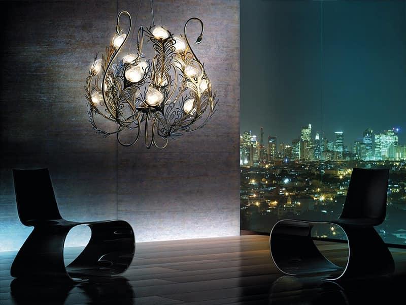 Musa chandelier, Metal chandelier, diffusers in Murano glass