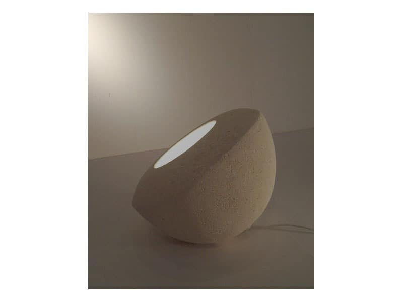 Oblo', Lamp for floor or table, made of carved stone