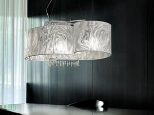 Onda hanging lamp, Pendant lamp with pendants in lead glass