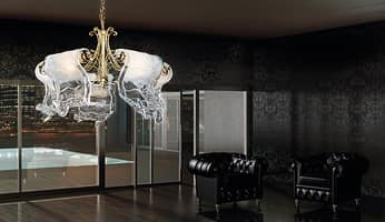 Poeme chandelier, Chandelier with 5 lights with diffusers in Murano glass