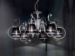 Romantica chandelier, Chandelier with diffusers in organza, classic style