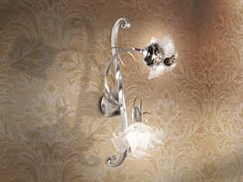 Rose applique, Wall lamp with diffusers in the form of pink, for living rooms
