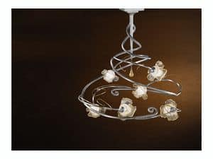 Rose ceiling lamp, Modern chandelier with 6 lights and central glass pendant