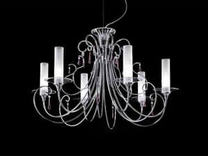 Sinfonia chandelier, Chandelier with chromed metal handmade frame