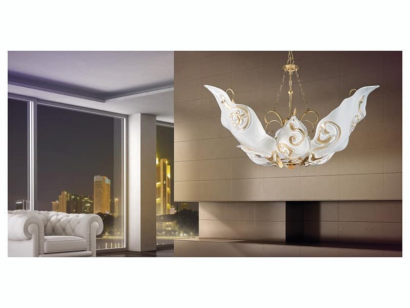 Sirio hanging light, Chandelier with diffusers in Murano glass decorated in leaf