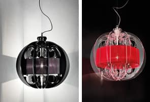 Sphera chandelier, Modern suspension lamp with elements of Plexiglas