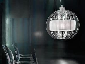 Sphera chandelier, Modern suspension lamp with elements of Plexiglas
