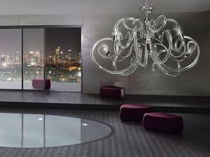 Vanity chandelier, Brass chandelier, voluptuous forms of glass diffusors
