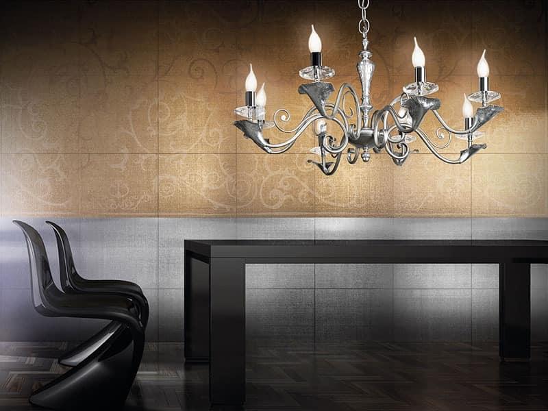 Varsailles chandelier, Chandelier with 8 lights, leaf decorated details