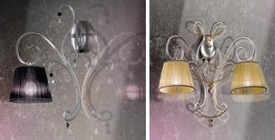 Venezia applique, Wrought iron sconces with 4 lights and precious necklaces