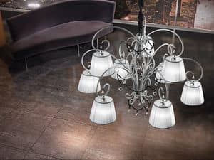 Venezia chandelier, Hand-wrought iron chandelier, necklaces in Murano glass